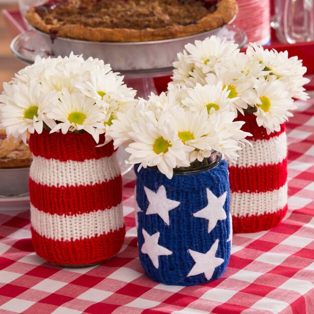 Red Heart Americana Jar Cozies in color