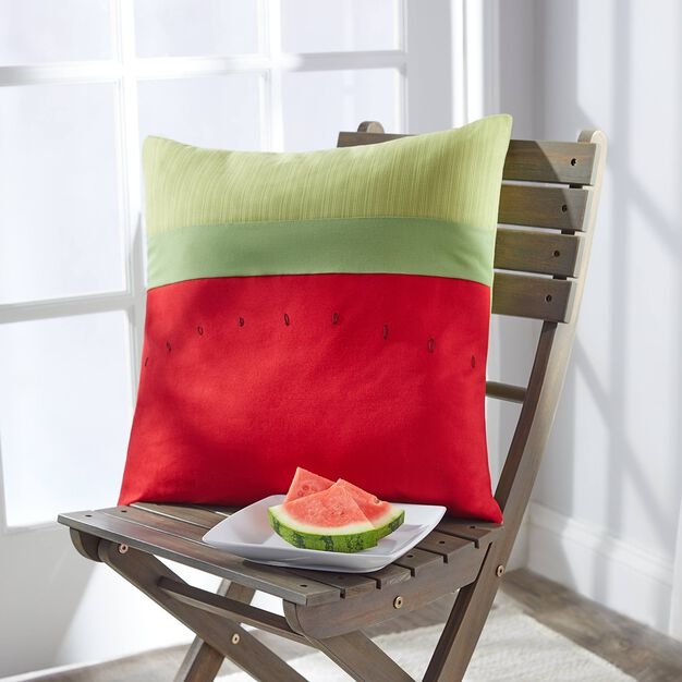 Coats & Clark Watermelon Patio Pillow for outdoor decor in color