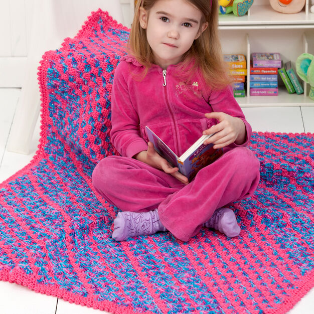 Red Heart Daydreamer Diagonal Blanket in color