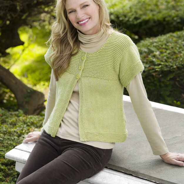 Red Heart Simple Spring Swing Cardigan, S in color