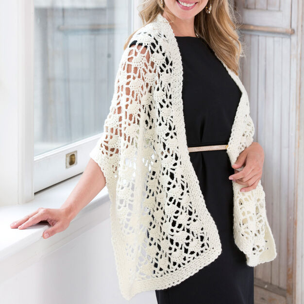 Red Heart Crochet Lacy Wrap in color