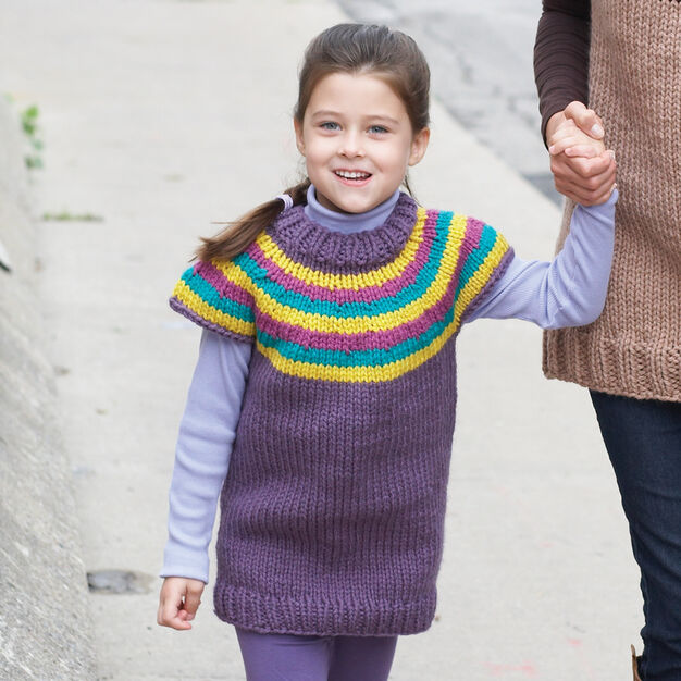 Bernat Striped Yoke Kid's Pullover, 4 yrs in color