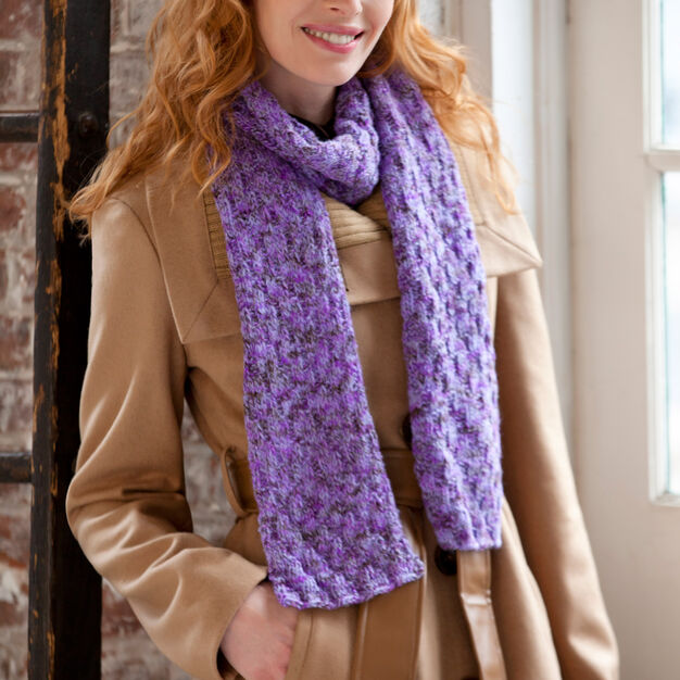 Red Heart Shimmer Knit & Purl Scarf in color