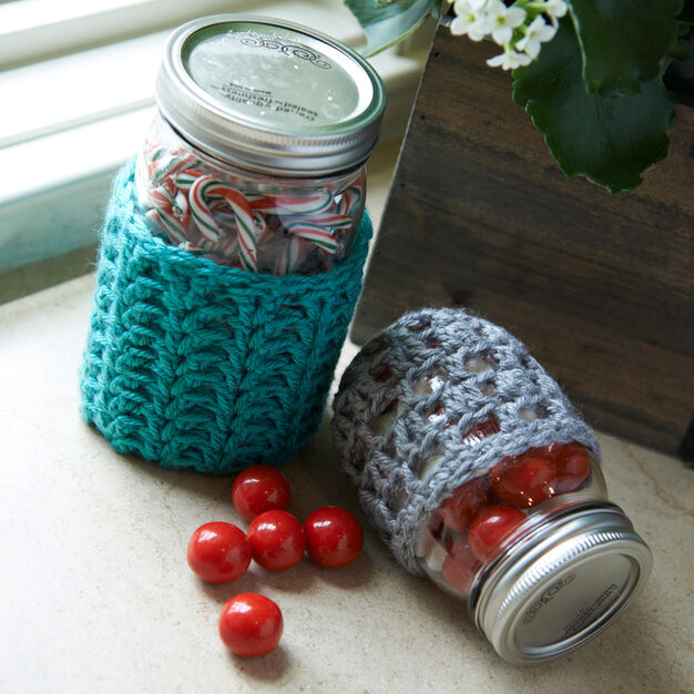 Red Heart Crochet Jar Cozies, S in color
