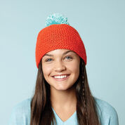Caron Beanie With Bright Pompom