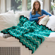 Red Heart Fringed Zigzag Throw