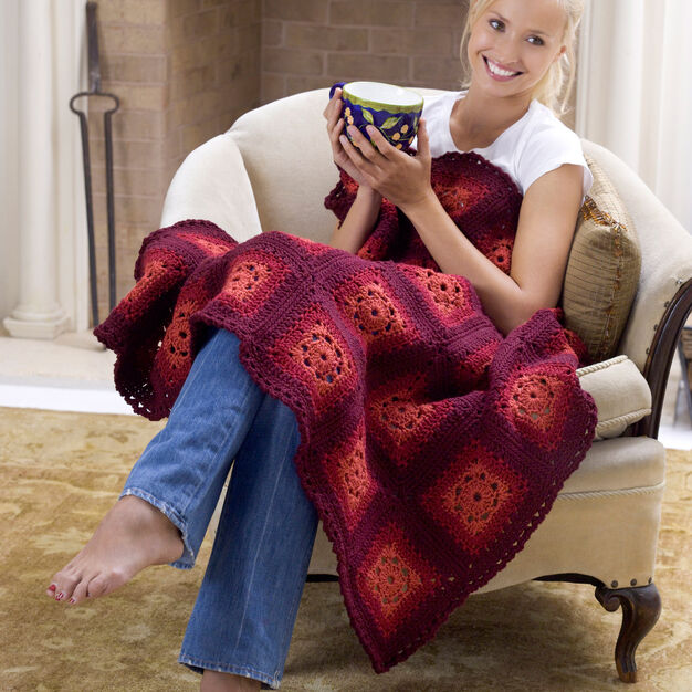 Red Heart Blushing Grannies Afghan in color