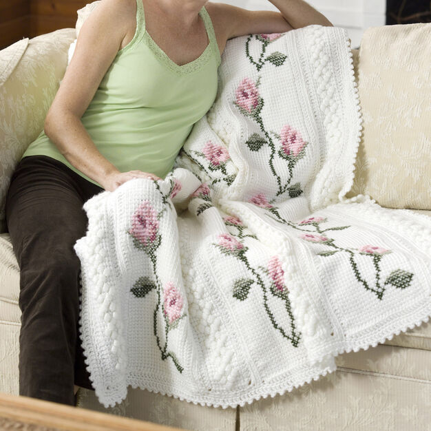 Red Heart Rosebud Throw in color