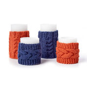 Bernat Knit Cable Candle Cozies, Pumpkin