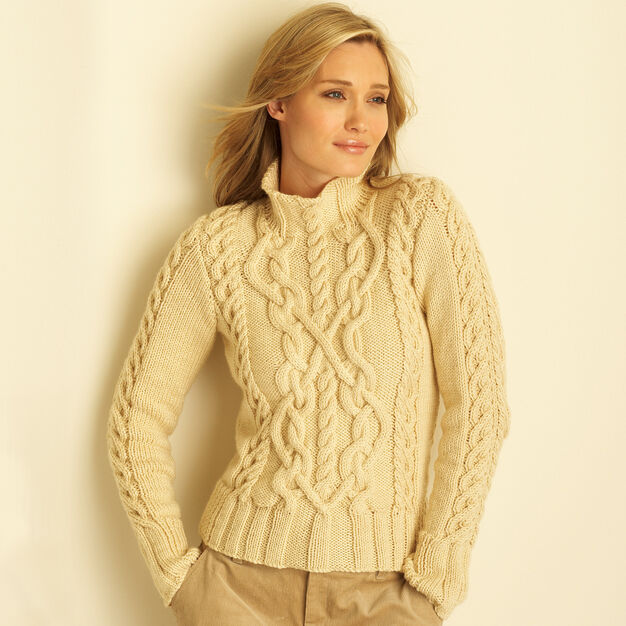 Bernat Cable Sweater, XS/S in color