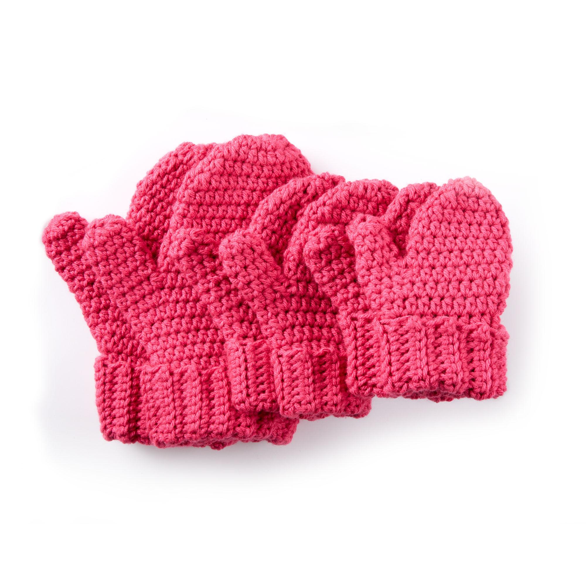 Caron Hands Full Crochet Mittens, Blue | Yarnspirations