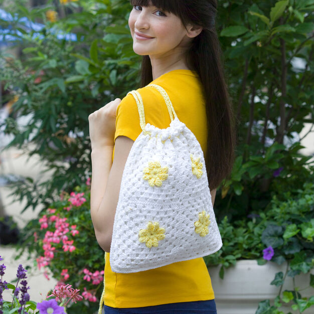 Red Heart Daisy Drawstring Bag in color