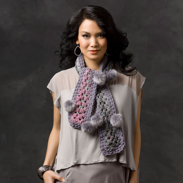 Red Heart Grey Shadows Scarf in color