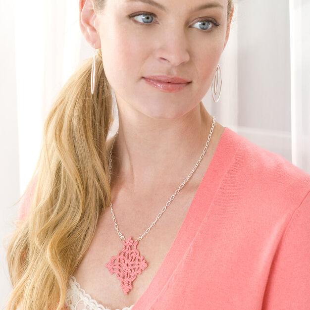 Aunt Lydia's Lace Pendant Necklace in color