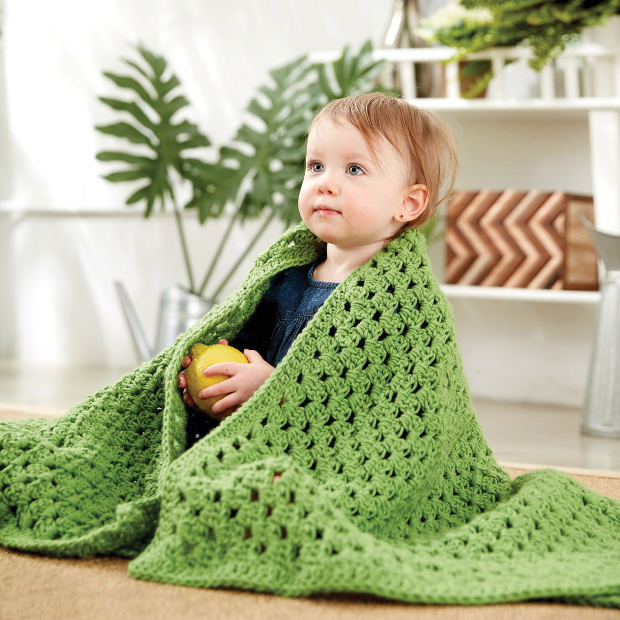 Caron Easy Peasy Baby Blanket, Peach | Yarnspirations