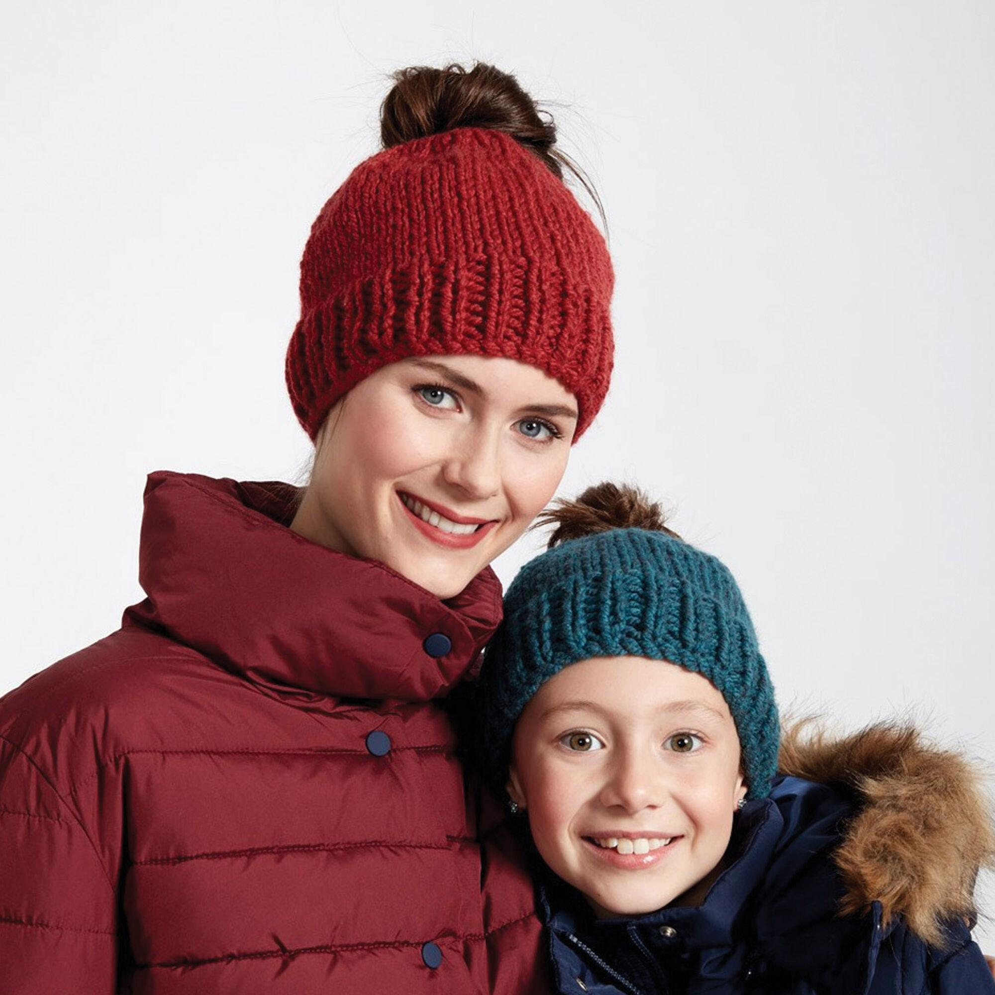 Bernat Family Fun Messy Bun Knit Hats, Adult | Yarnspirations