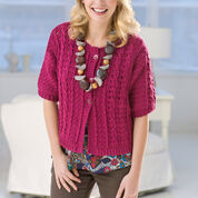 Red Heart Crochet Cable Cardi, S
