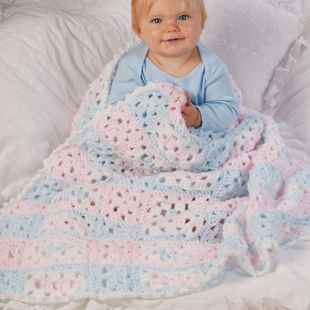 Red Heart Baby Steps Blanket in color