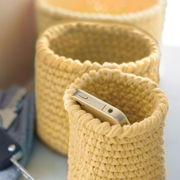 Lily Sugar'n Cream Crochet Nesting Baskets in color