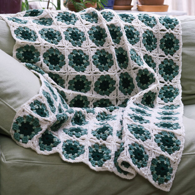 Red Heart Granny Motif Mania Throw, Afghan in color