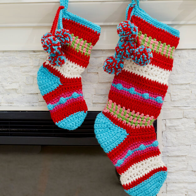 Red Heart Pompoms & Stripes Holiday Stockings, S in color