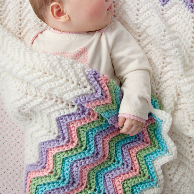 Red Heart Rickrack Rainbow Baby Blanket in color