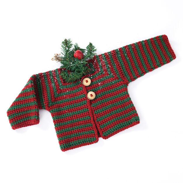 Caron Mitered Striped Baby Sweater, 12 mos
