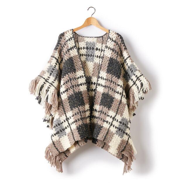 Patons Plaid Blanket Crochet Poncho Pattern Yarnspirations