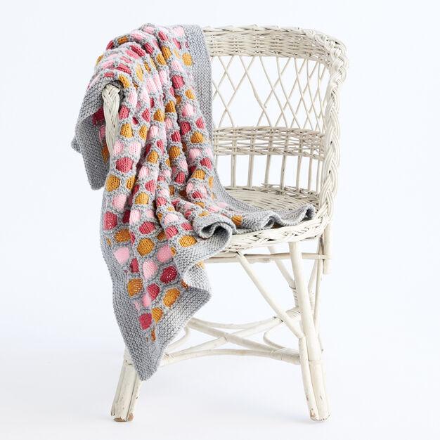 Caron Honeycomb Stripes Knit Blanket in color