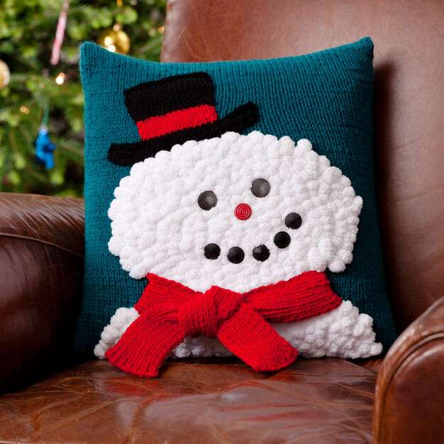 Red Heart Snowman Pillow in color