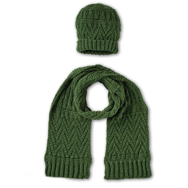 Caron Guernsey Textures Knit Hat And Scarf Yarnspirations