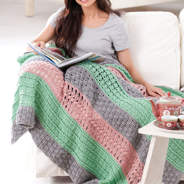 Caron Soft Stripes Throw in color