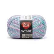 Go to Product: Red Heart Comfort Yarn in color White/Violet/Mint Print