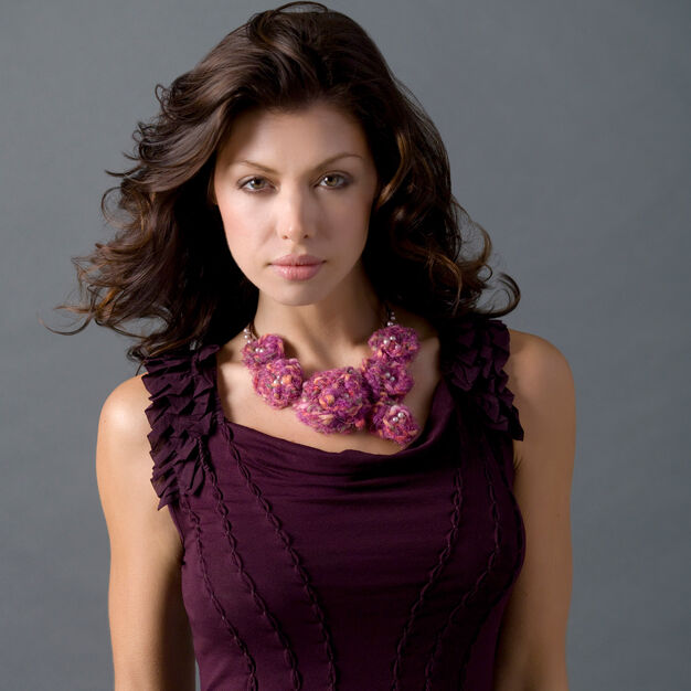Red Heart Floral Crochet Necklace in color
