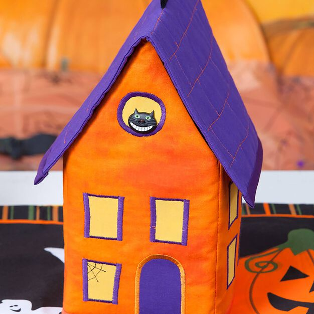 Dual Duty Halloween House Candy Dish Cover in color
