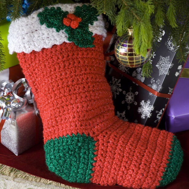Red Heart Crochet Holly Stocking in color