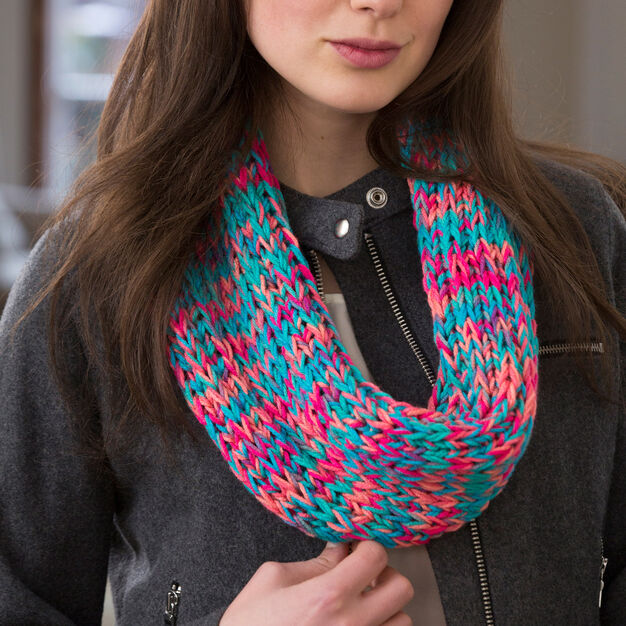 Red Heart Warm Colorful Cowl in color