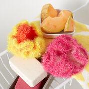 Red Heart Sparkle Bath Pouf Scrubby, Orange & Lemon