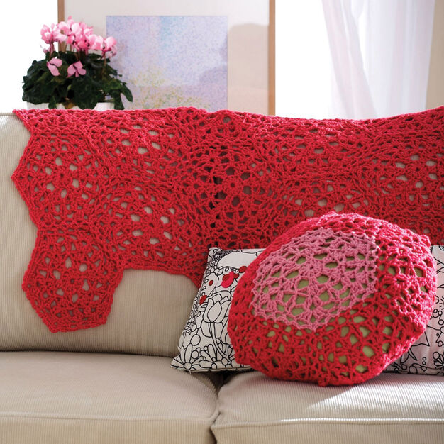Patons Cranberry Mousse Throw & Cushion, Throw