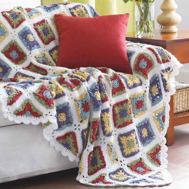 Lily Sugar 'n Cream Country Granny Blanket in color