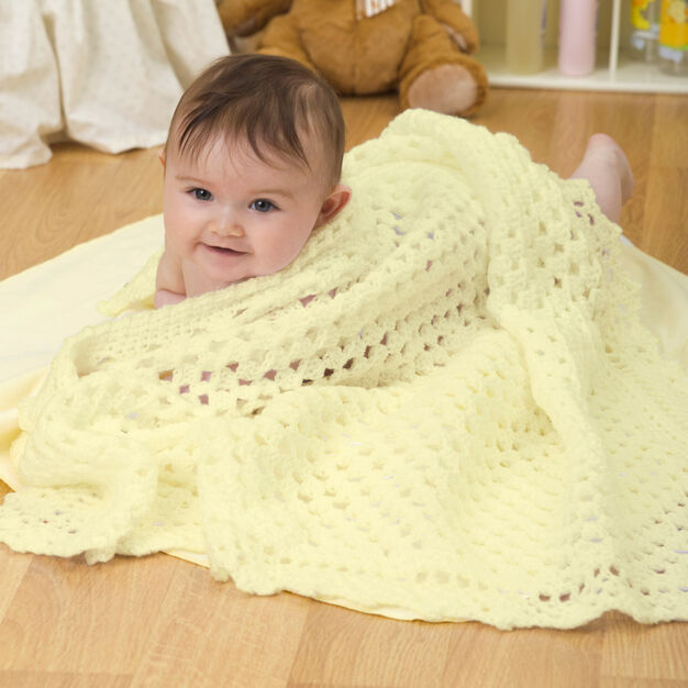 Red Heart Sunshine Baby Blanket in color