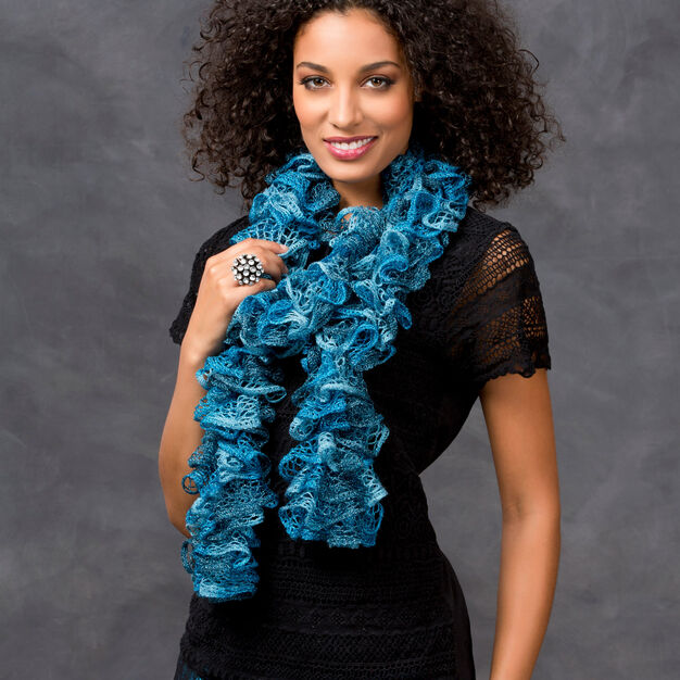 Red Heart Glitzy Ruffle Scarf, Short in color