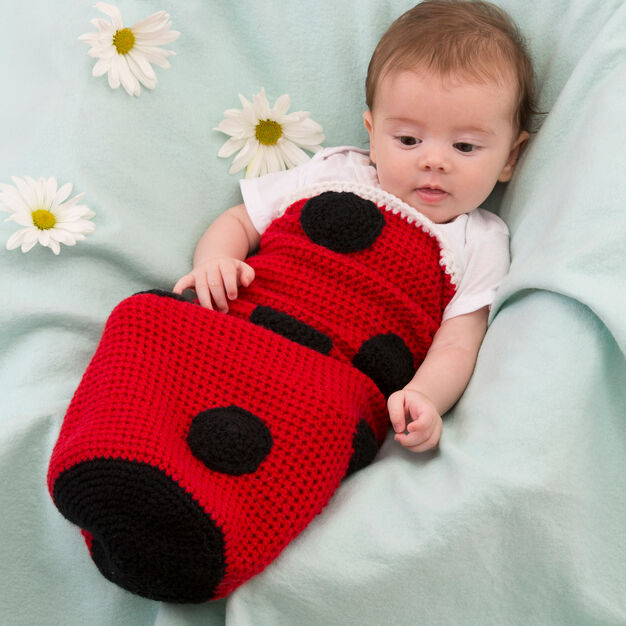 Red Heart Ladybug Baby Cocoon in color