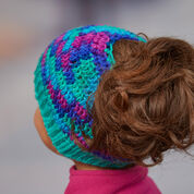 "Go to Product: Red Heart Messy Bun Crochet Hat, 19"" in color"