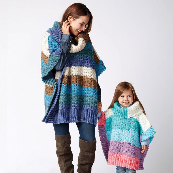 Free Pattern: Bernat Mom and Me Crochet Ponchos in Bernat Pop! yarn