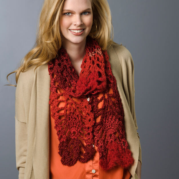Red Heart Lacy Pineapple Crochet Scarf in color