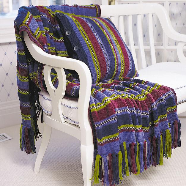 Patons Stripes & Checks Afghan & Pillow Set, Afghan