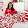 Red Heart Peppermint Throw and Pillow in color  Thumbnail Main Image 2}