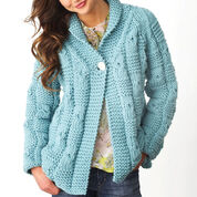 Bernat Textured Checks Cardigan, XS/S