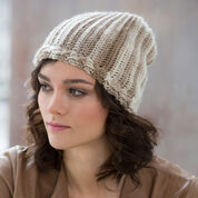 Red Heart Cable & Rib Slouchy Hat, S